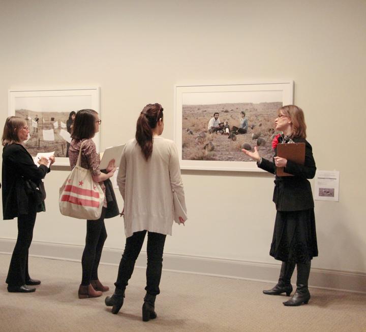 Visitors explore Gohar Dashti's works at NMWA