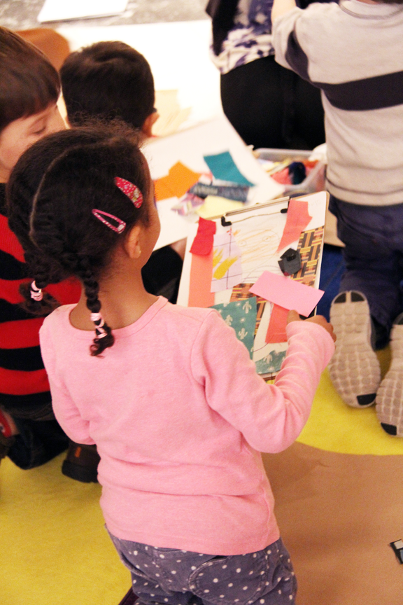 Pre-K visitors experiment with art-making in the galleries; Photo: Emily Haight, NMWA