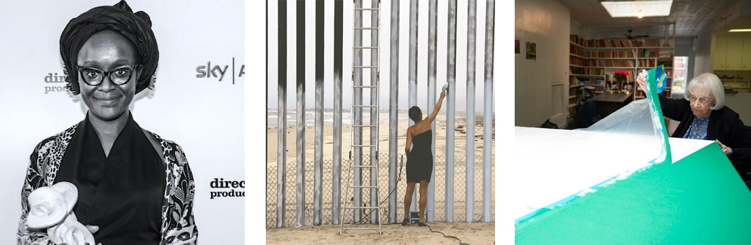 "Left to right: Lynette Yiadom-Boakye wins a South Bank Award; Ana Teresa Fernandez paints a ""window"" in the U.S.-Mexico border fence; and Carmen Herrera talks about her career"