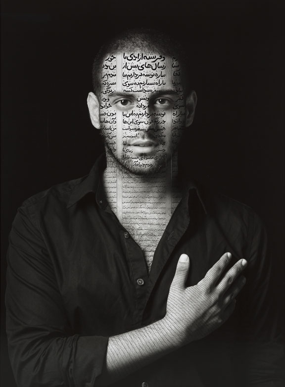 "Shirin Neshat, Ibrahim (Patriots), from the series ""The Book of Kings, ""2012; Ink on laser-exposed silver gelatin print, 60 x 45 in.; Courtesy of the artist and Gladstone Gallery, New York and Brussels; © Shirin Neshat"