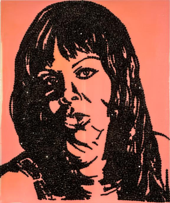 Mickalene Thomas, A-E-I-O-U and Sometimes Y, 2009; Plastic rhinestones, acrylic, and enamel on panel, 24 x 20 in.; Gift of Deborah Carstens; © 2009 Mickalene Thomas, Courtesy of the Artist and Lehmann Maupin