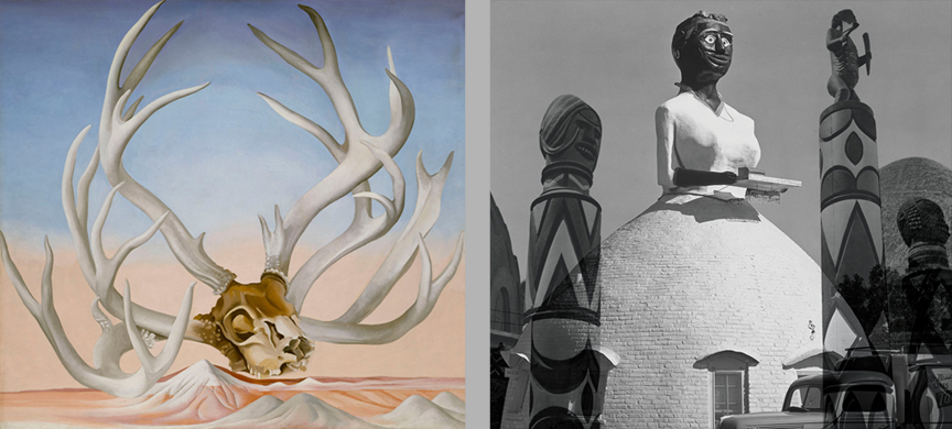 The Guardian explores exhibitions of Georgia O'Keeffe (left) and Simone Leigh (right)