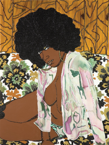 Mickalene Thomas, Whatever You Want, 2004; Acrylic,