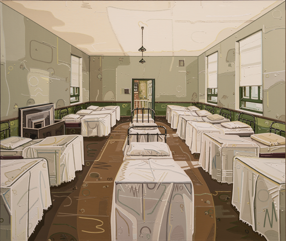 Julie Roberts, Dormitory, 2011; Oil on linen, 46 1/8 x 53 7/8 in.; NMWA, Gift of The Heather and Tony Podesta Collection