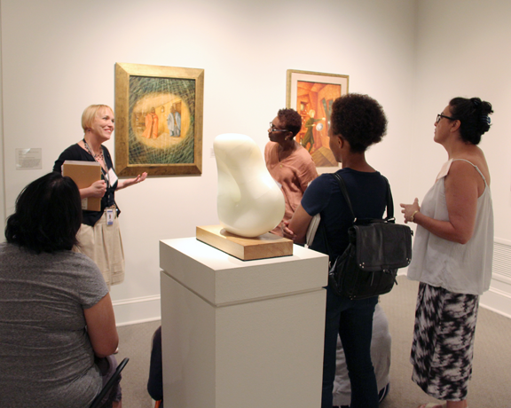 ABC participants practice Visual Thinking Strategies in the galleries; Photo: Emily Haight, NMWA