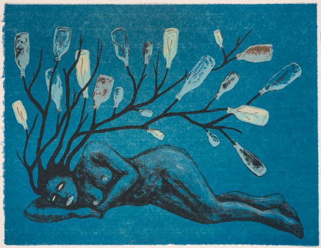 Alison Saar, Compton Nocturne, 2012; Color lithograph on paper, 19 1/4 x 25 in.; National Museum of Women in the Arts, Washington D.C., Promised gift of Steven Scott, Baltimore, in Honor of the Twenty-fifth Anniversary of the National Museum of Women in the Arts; © Alison Saar; Photo: Lee Stalsworth