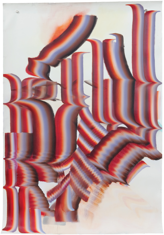 "Kerstin Brätsch, I Want to be Wrong, from the series ""Broadwaybratsch/Corporate Abstraction,"" 2010; Oil on paper; Rubell Family Collection, Miami"