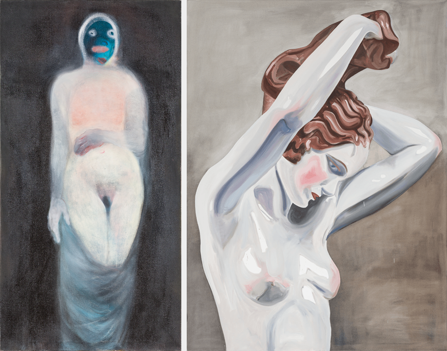 Miriam Cahn, Versehrt, 1998; Oil on canvas (left) and Amy Bessone, No. 329 (Edit), 2007; Oil on canvas (right); Rubell Family Collection, Miami