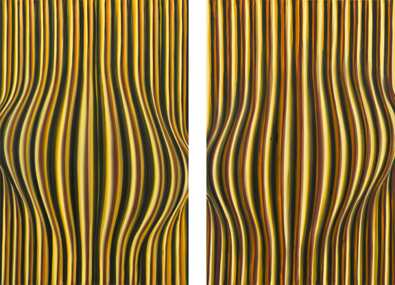 """Karin Davie, Oh Baby #1 and #2, from the series """"Sidewalk,"""" 1992; Oil on canvas; Rubell Family Collection, Miami"""