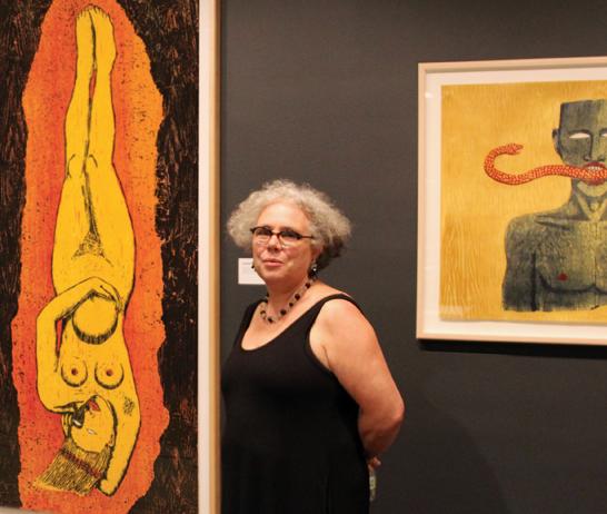 Alison Saar with her works in NMWA's exhibition Alison Saar In Print