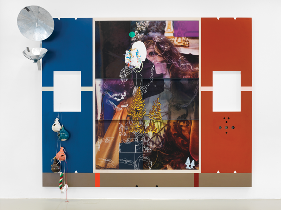 Helen Marten, Under blossom: B. uses frenzy, 2014; Screen-printed suede, leather, waxed cotton, pressed Formica, ash, cherry, walnut, welded galvanized steel, glazed ceramic, strings, cast bronze and aluminum, and colored pencil on paper under resin; Rubell Family Collection, Miami