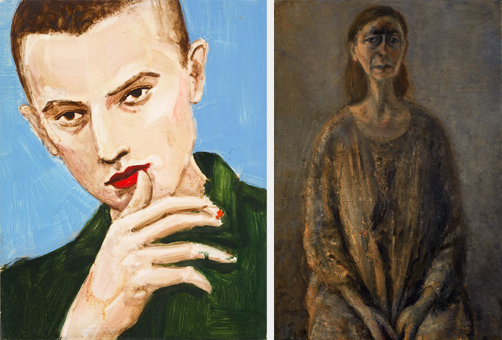 Elizabeth Peyton, Burkhard Riemschneider, 1995; Oil on board; (left) and Celia Paul, Self-Portrait August–September, 2014; Oil on canvas (right); Rubell Family Collection, Miami