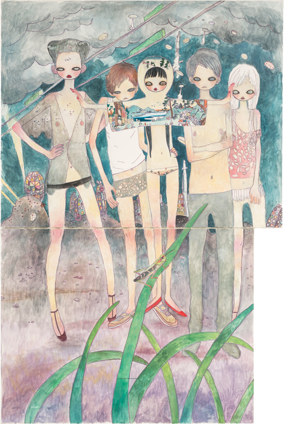 Aya Takano, On the Night of Departure, Black Hair Flows, 2003; Acrylic on canvas, Rubell Family Collection, Miami