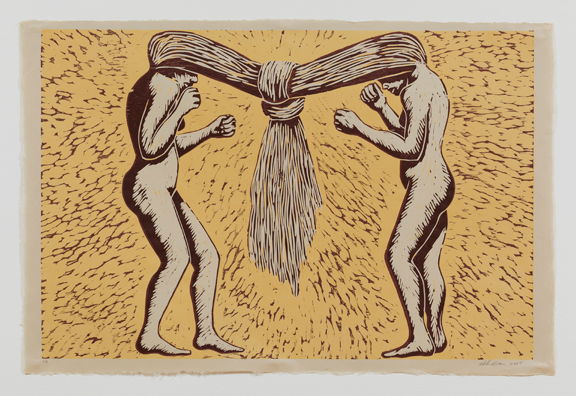 Two nude female figures stand in profile, facing each other with fists raised. Their long hair is flipped over their faces and tied together between them in a huge knot. The figures are rendered in white with brown shading on a yellow background with brown lines leading to the knot.