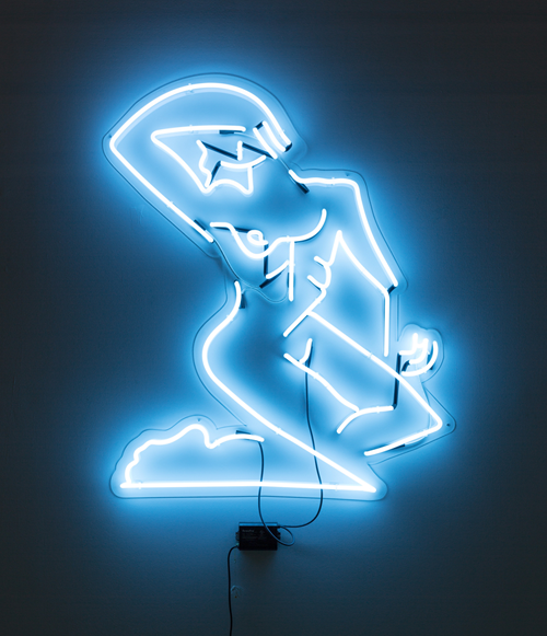 Mira Dancy, Street Ofelia (neon blue), 2014; Neon, 60 x 48 in.