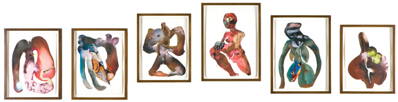 Wangechi Mutu, The Evolution of Mud Mama from Beginning to Start, 2008; Watercolor, gold leaf, and collage on paper; Rubell Family Collection, Miami