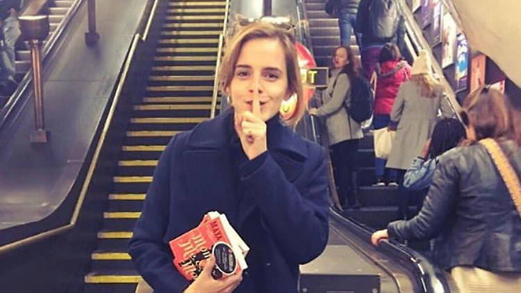 "Emma Watson, who has been ""sneaking around the tube network hiding copies of Maya Angelou's novel Mom & Me & Mom."""