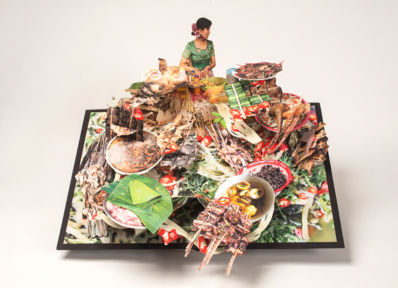 "Colette Fu, Dai Food, from the series ""We are Tiger Dragon People,"" 2008–13; Artist's book with color prints, 25 x 24 x 11 in. (open); NMWA; Museum purchase with funds provided by the Book Arts Fellows"