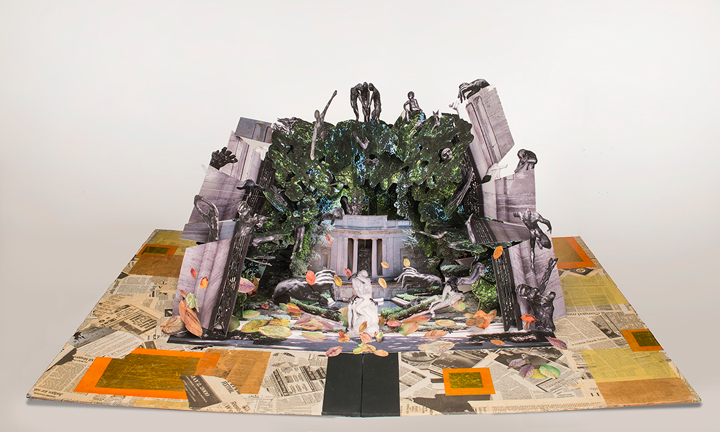 """Colette Fu, Rodin Museum: Lovers, from the series """"Haunted Philadelphia,"""" 2005–06; Artist's book with color prints, Chinese Joss paper, and Philadelphia newspapers, 53 x 36 x 22 in. (open); NMWA; Museum purchase with funds donated by Lynn Johnston and Julie Garcia"""