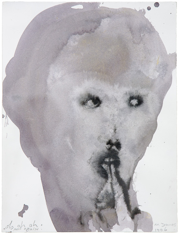 Marlene Dumas, Oh, Oh, Oh, Not Again, 1996; Ink and metallic acrylic on paper; Rubell Family Collection, Miami