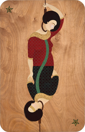 Hayv Kahraman, Migrant. I, 2009; Oil on panel, 70 x 45 in.; Rubell Family Collection, Miami