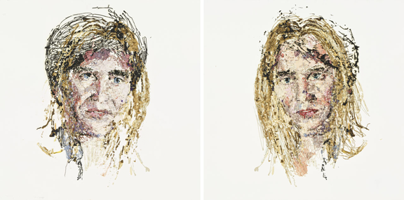 Kaari Upson, Kiss 8, 2007; Oil on panel, Diptych, each: 48 x 48 in.; Rubell Family Collection, Miami