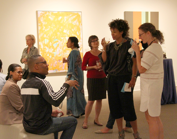 Artists in Conversation participants socialize over happy hour in the galleries; Photo: Francesca Rudolph, NMWA