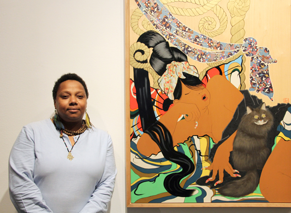 Rozeal with one of her works in NO MAN'S LAND, Photo: Francesca Rudolph, NMWA