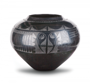 Maria Martinez and Julian Martinez, Storage jar, ca. 1940; Polished blackware pottery with matte paint, 16 x 22 ¼ in. diameter; Philbrook Museum of Art, Gift of Clark Field