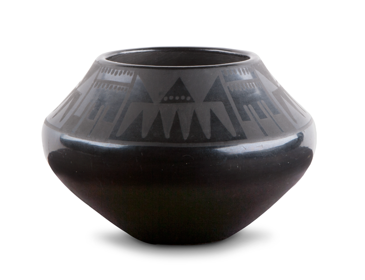 Maria Martinez and Julian Martinez, Small black-on-black olla, ca. 1930s; Polished blackware pottery with matte slip paint; Gift of Dean and Carolyn Moffett in Memory of Marguerite F. Moore and Marguerite F. Moffett Philbrook Museum of Art, Tulsa, Oklahoma