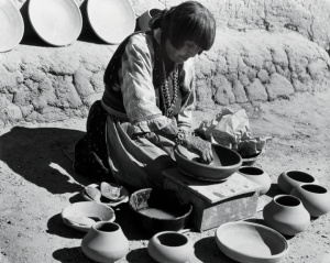 Laura Gilpin, Maria Martinez Making Pottery, 1959; Gelatin silver print, 10 ¾ x 14 ½ in.; Eugene B. Adkins Collection at Philbrook Museum of Art, Tulsa, and Fred Jones Jr. Museum of Art, University of Oklahoma, Norman