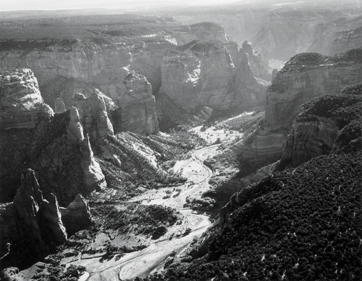 Laura Gilpin, Upper End of Canyon de Chelly, Arizona, ca. 1960s; Gelatin silver print, 10 ¾ x 13 ¾ in.; Eugene B. Adkins Collection at Philbrook Museum of Art, Tulsa, and Fred Jones Jr. Museum of Art, University of Oklahoma, Norman; © 1979 Amon Carter Museum of American Art, Fort Worth, Texas