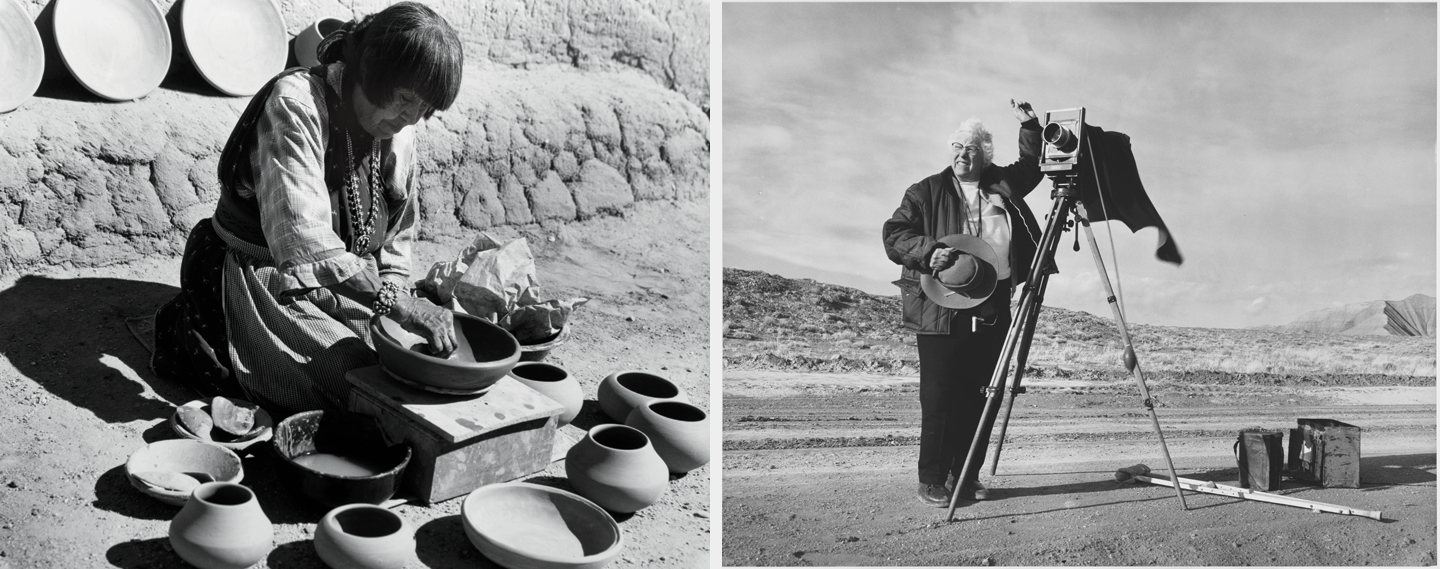 Laura Gilpin, Maria Martinez Making Pottery, 1959; Gelatin silver print, 10 ¾ x 14 ½ in.; Eugene B. Adkins Collection at Philbrook Museum of Art, Tulsa, and Fred Jones Jr. Museum of Art, University of Oklahoma, Norman (left) and Fred E. Mang, Jr.,Laura Gilpin taking photographs along dirt road, 1971; Reproduction of gelatin silver print; Amon Carter Museum of American Art, Fort Worth, Texas, Gift of the artist and Laura Gilpin P1979.98; ©1971 Fred E. Mang, Jr. (right)