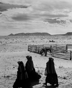 Laura Gilpin, Women Returning from a Trip to the Trading Post, 1950; Gelatin silver print; Eugene B. Adkins Collection at Philbrook Museum of Art, Tulsa, and Fred Jones Jr. Museum of Art, University of Oklahoma, Norman
