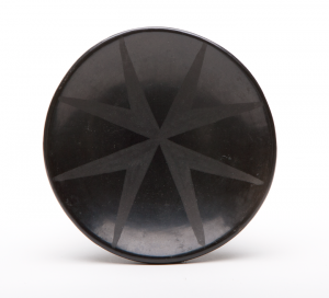 Maria Martinez and Julian Martinez, Small black-on-black saucer, n.d.; Polished blackware pottery with matte slip paint; Gift of Dean and Carolyn Moffett in Memory of Marguerite F. Moore and Marguerite F. Moffett Philbrook Museum of Art, Tulsa, Oklahoma