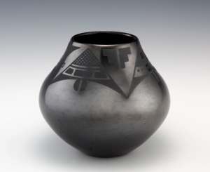 Maria Martinez and Popovi Da, Black-on-black olla, 1963; Polished blackware pottery with matte slip paint ; Eugene B. Adkins Collection at Philbrook Museum of Art, Tulsa, and Fred Jones Jr. Museum of Art University of Oklahoma, Norman