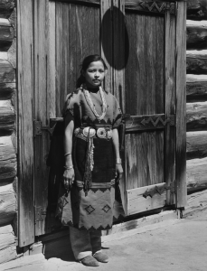 Laura Gilpin, A Navaho Costume of the 1880s at Window Rock Fair, 1951 Gelatin silver print; Eugene B. Adkins Collection at Philbrook Museum of Art, Tulsa, and Fred Jones Jr. Museum of Art, University of Oklahoma, Norman