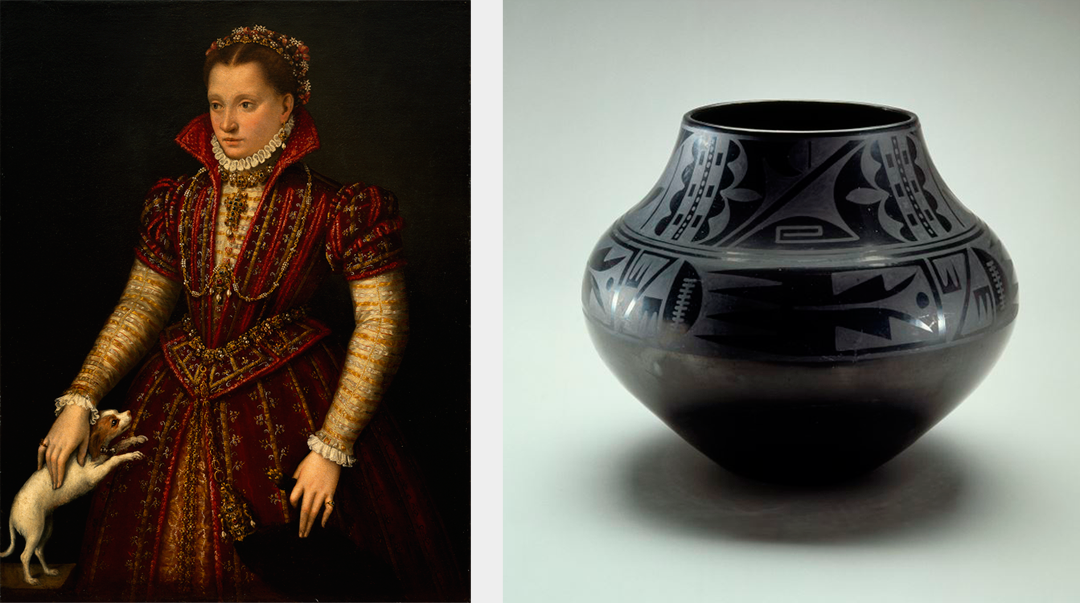 Left to right: Lavinia Fontana, Portrait of a Noblewoman (ca. 1580) and Maria Martinez and Julian Martinez, Jar (ca. 1939); NMWA; Gift of Wallace and Wilhelmina Holladay
