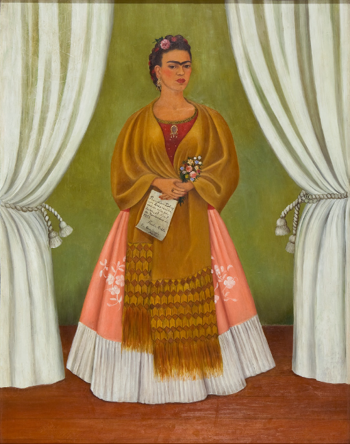 Frida Kahlo, Self-Portrait Dedicated to Leon Trotsky, 1937; Oil on Masonite, 30 x 24 in.; National Museum of Women in the Arts, Gift of the Honorable Clare Boothe Luce; © 2012 Banco de México Diego Rivera Frida Kahlo Museums Trust, Mexico, D.F. / Artists Rights Society (ARS), New York