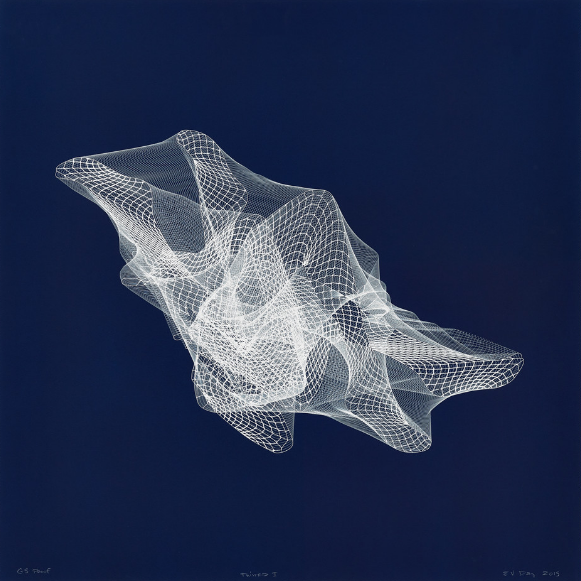 E.V. Day, Twisted 1, 2015; Cyanotype on paper, 39 3/4 x 39 3/4 in.; National Museum of Women in the Arts, Promised gift of Steven Scott, Baltimore, in honor of the artist
