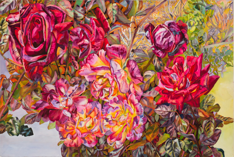 Patricia Tobacco Forrester, Bronzed Roses, 1991; Watercolor, 40 x 60 in.; National Museum of Women in the Arts, Promised Gift of Steven Scott, Baltimore, in Memory of the Artist; © The Estate of Patricia Tobacco Forrester