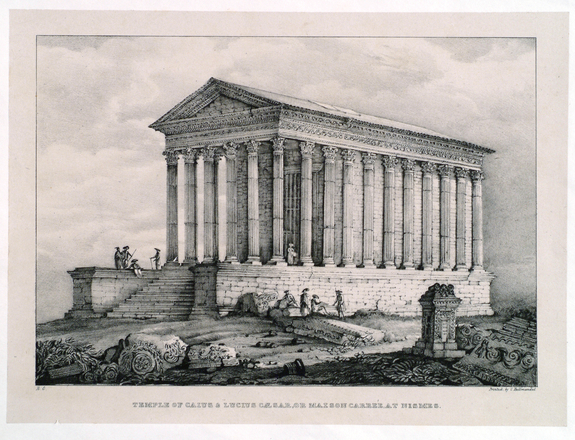 "Richenda Cunningham, Temple of Caius & Lucius Caesar, or Maison Carre (from the series ""Nine Views Taken on the Continent""), ca. 1830; Lithograph on paper, 13 x 16 1/2 in.; National Museum of Women in the Arts, Gift of Wallace and Wilhelmina Holladay"