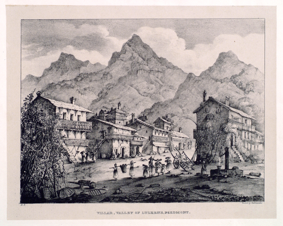 "Richenda Cunningham, Villar, Valley of Luzerne, Piedmont (from the series ""Nine Views Taken on the Continent""), ca. 1830; Lithograph on paper, 13 x 16 1/2 in.; National Museum of Women in the Arts, Gift of Wallace and Wilhelmina Holladay"