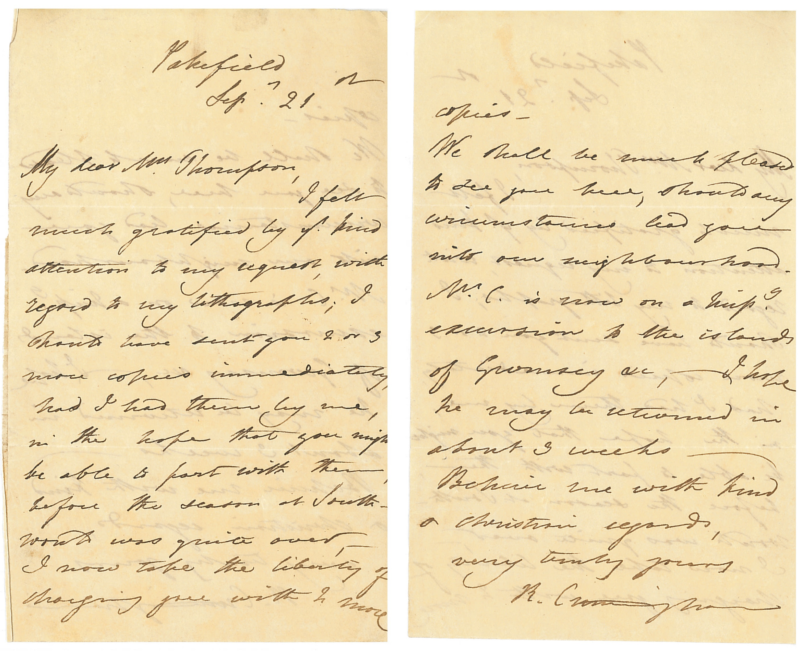 Letter from Richenda Cunningham to Ms. Thompson. Dated September 21, 18--. Betty Boyd Library & Research Center, National Museum of Women in the Arts.