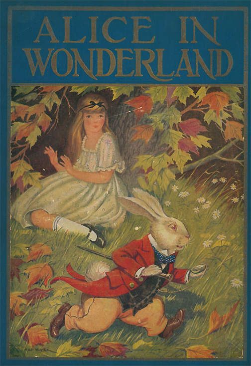 Cover Image of Alice's Adventures in Wonderland and Through the Looking-Glass by Lewis Carroll showing a young girl crouched in the gras sunder branches while a rabbit in a red coat scurries away from her.