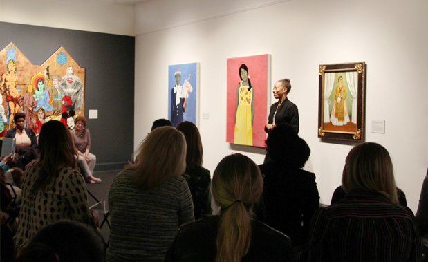 Amy Sherald speaks to Artists in Conversation program attendees; Photo: Emily Haight, NMWA