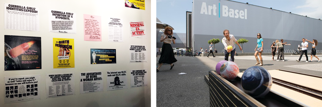 Art Basel features work by the Guerrilla Girls (left) and Claudia Comte (right)