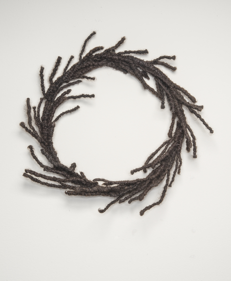 Sonya Clark, Hair Wreath, 2012; Human hair and wire, 13 x 13 x 2 in.; Tony Podesta Collection, Washington, D.C.; © Sonya Clark; Photo by Lee Stalsworth