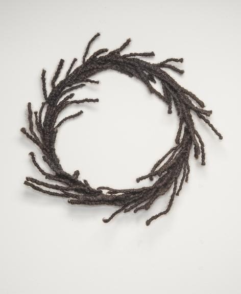 Sonya Clark, Hair Wreath, 2012; Human hair and wire, 13 x 13 x 2 in.; Tony Podesta Collection, Washington, D.C.; © Sonya Clark; Photo by Lee Stalsworth
