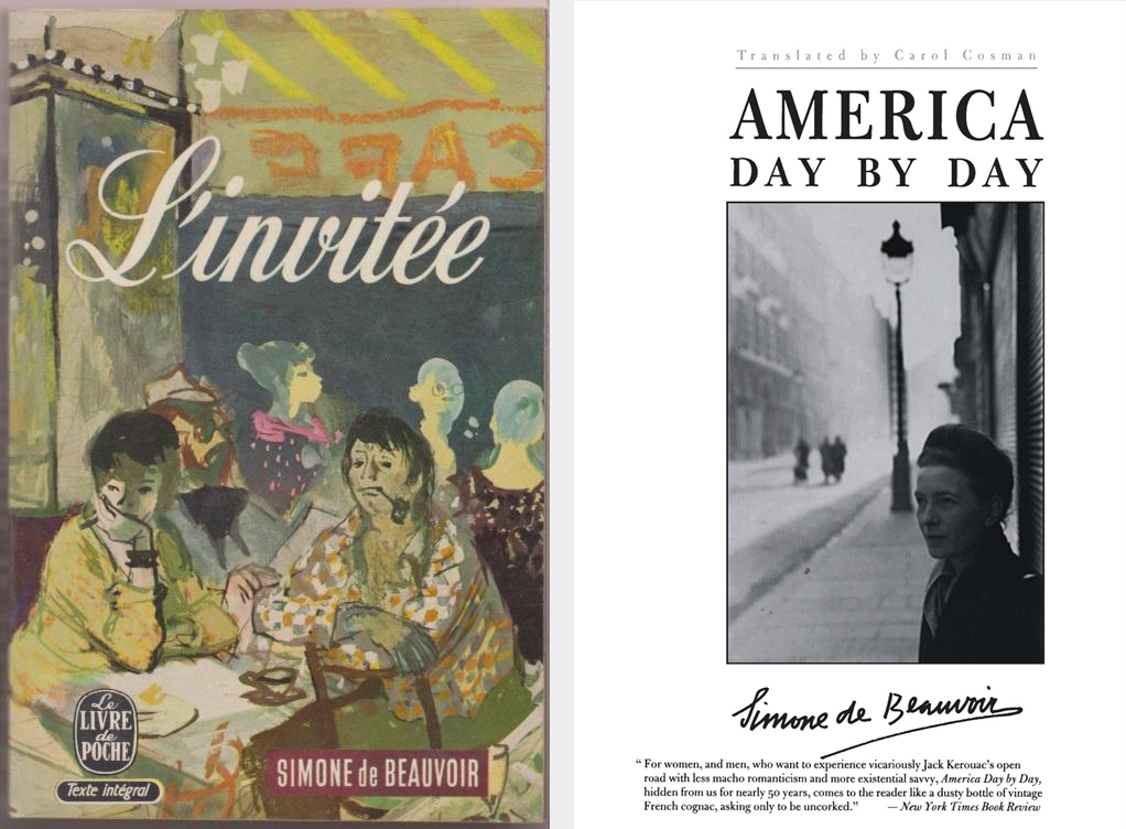 Covers of Simone de Beauvoir's L'Invitée, 1943 (left) and America Day by Day, 1948 (right)